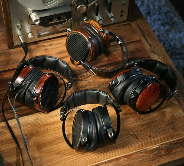 Audeze headphones in beautiful exotic woods and either leather or leather-free headbands.