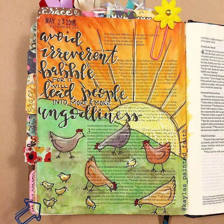 """YES! Such a cute illustration and words full of conviction!!! #Repost @kaylas_painted_faith  One of my favorite musicals is The Music Man. There is a scene where all the women are babbling away talking all this gossip and nonsense and the music sounds like chickens and their pecking and peeping. In 2 Timothy 2:16-17 it says """"but avoid irreverent babble for it will lead people into more and more ungodliness and their talk will spread like gangrene."""" All I could picture here was that scene in…"""