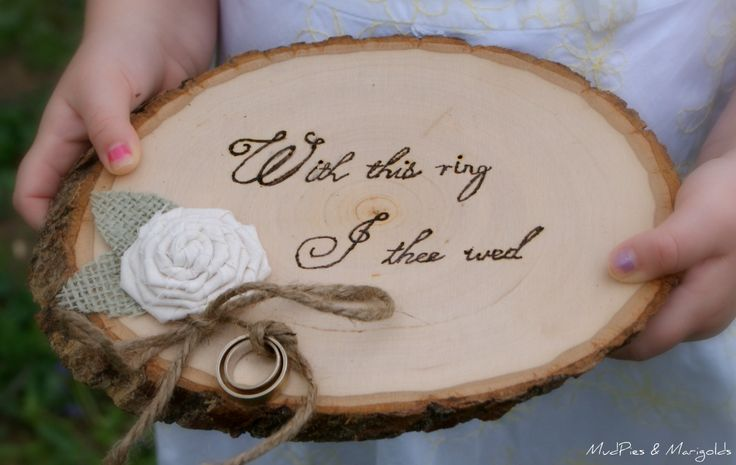 Interesting ring bearers idea, for bride or groom who is working or has a proffession in wood or forest products