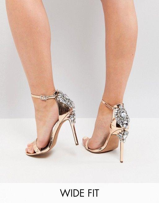 70347585a9c HIGH ROLLER Wide Fit Embellished Heeled Sandals