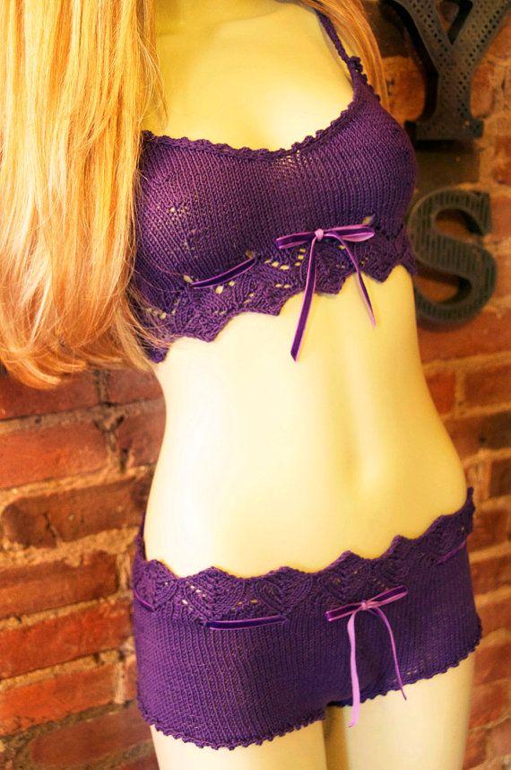 Pretty Little Knickers Purple Lace Lingerie KNITTING by girlyknits