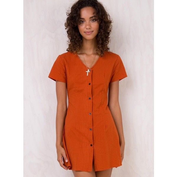 Sylar Mini Dress (€54) ❤ liked on Polyvore featuring dresses, rust, short dresses, rust dress, rust orange dress, orange mini dress and short orange dress