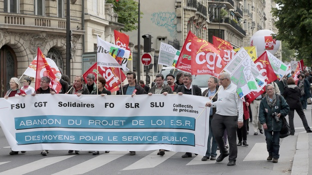 Demonstrators in Paris protest Thursday against a measure to teach more university courses in English.  //Via @Natalie Richardson: War Of Words: France Debates Teaching Courses In English