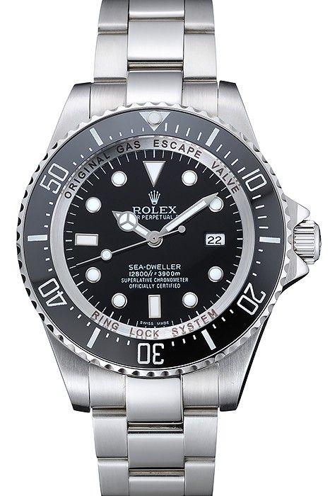 Rolex Sea Dweller Stainless Steel Bracelet Black Dial Watch