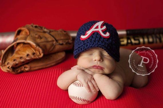 Atlanta Braves Hand Crocheted Baseball, newsboy hat Newborn Photo Prop on Etsy, $29.99