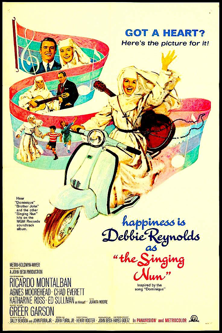 Original poster for The Singing Nun (1966) with Debbie Reynolds