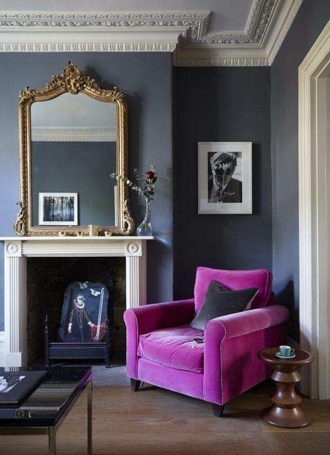 Dunkle und stimmungsvolle Wohnzimmer, Inspiration in Dunkelblau ...