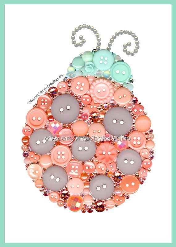 Coccinelle menthe & corail pépinière Art encadré bouton Art