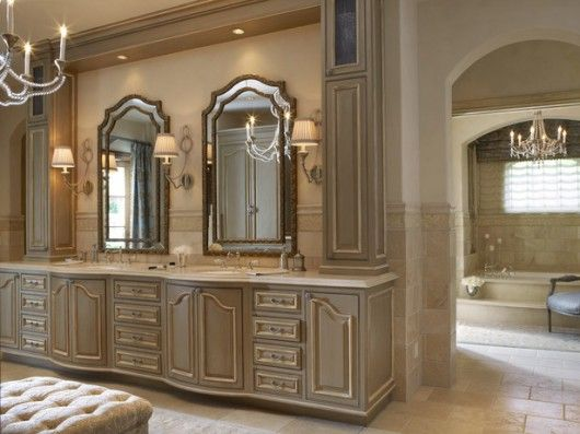 French Inspired Bathroom These Colors In Master Bath With Skinny Cabinet Placed In Center Of Vanity Between Mirrors