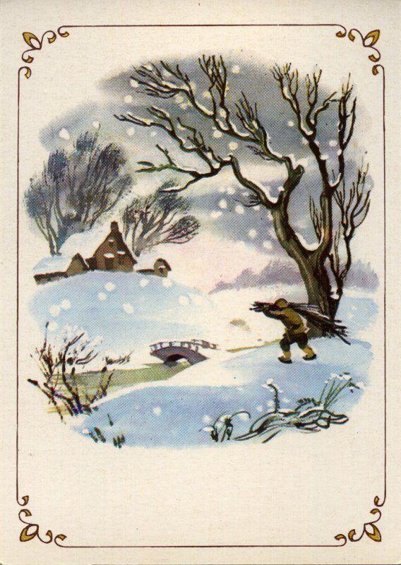 Зима настала холодная-прехолодная. Утенок должен был плавать по воде без отдыха, чтобы не дать ей замерзнуть совсем, но с каждой ночью полынья, в которой он плавал, становилась все меньше и меньше.