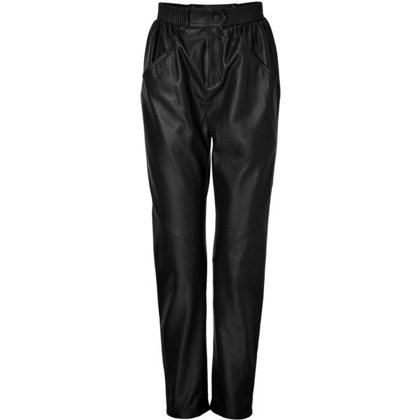 Kenzo Leather Jogging Pants (157.525 HUF) ❤ liked on Polyvore featuring pants, black, real leather pants, loose fit pants, elastic waistband pants, loose leather pants and loose fitting pants
