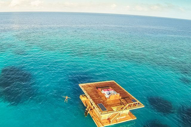 The Manta Resort, Pemba, Zanzibar ArchipelagoFancy spending the night submerged under water? Don't worry, it's all safe and leak-proof. At Tanzania's unbelievable Manta Resort, a tri-level suite that floats in the middle of the sea, the master bedroom is a glass box, which is fully under water in an area of thriving coral reef off Pemba Island. Perfect for fulfilling those mermaid dreams.