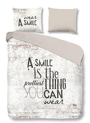 PURE Juego De Funda Nórdica Smile Blanco/Taupe Cama 80 (135 x 200 cm + 80 x 80 cm)