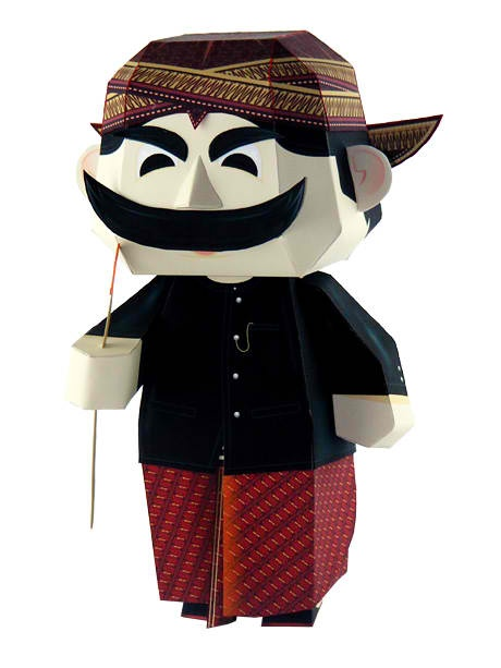 Pak Raden is a short-tempered thick mustached antagonist in the longtime Indonesian children's television series Unyil or Si Unyil. #papercraft from http://papercraftparadise.blogspot.com