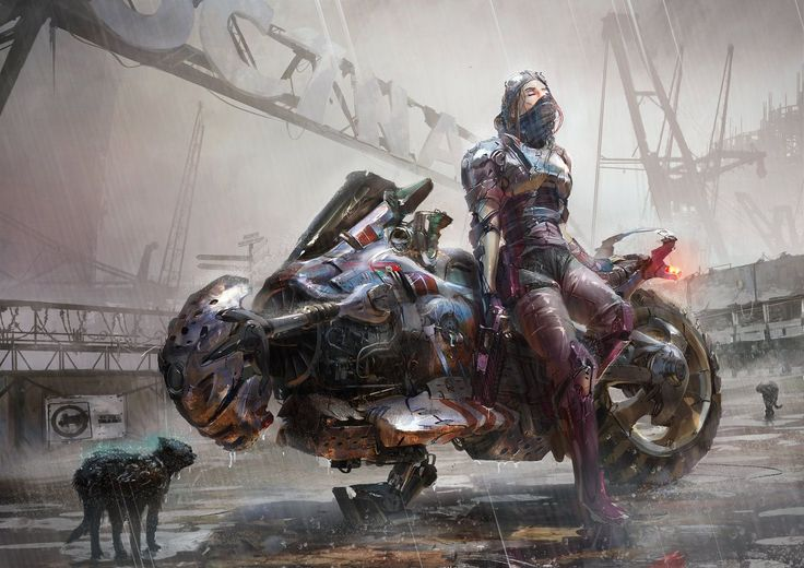Motorbike Cyberpunk by ptitvinc female Blade Runner rogue thief assassin ranger fighter gang member armor clothes clothing fashion player character npc | Create your own roleplaying game material w/ RPG Bard: www.rpgbard.com | Writing inspiration for Dungeons and Dragons DND D&D Pathfinder PFRPG Warhammer 40k Star Wars Shadowrun Call of Cthulhu Lord of the Rings LoTR + d20 fantasy science fiction scifi horror design | Not Trusty Sword art: click artwork for source