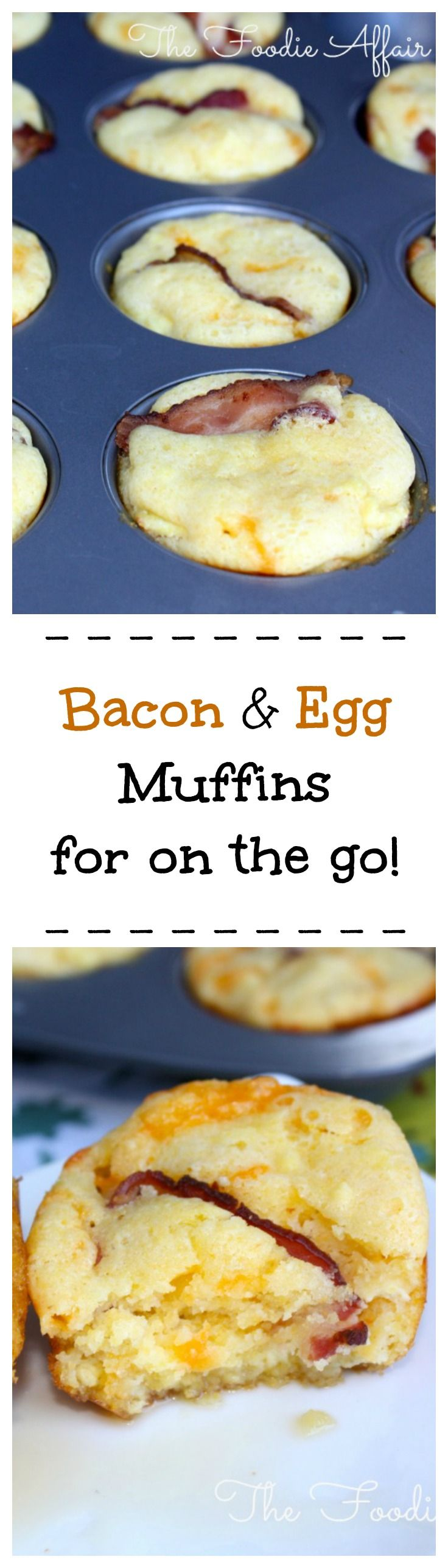 Savory cornmeal muffins with scrambled eggs, bacon, and cheddar cheese baked into the muffins! Delicious grab 'n go bite to eat for on the run! The Foodie Affair