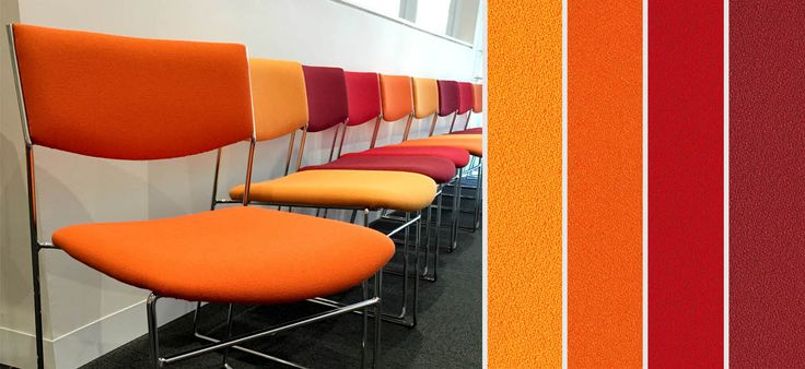 It's great to see different colour combos being used! These match perfectly to the AMEB Victoria company colours. The Mark Perry Tassbar Chairs create a simple and elegant waiting room area. They have used Sustainable Chelsea Zinnia SCH056, Orange SCH125, Anemone SCH121, and Tamarillo SCH140. #fabric, #sustainablelivingfabrics, #greenliving, #SLF, #livingfabrics, #textiles
