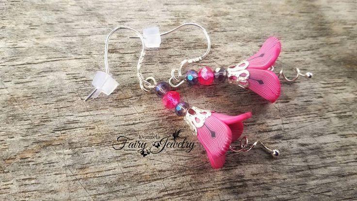 Orecchini fimo campanella fiore fucsia viola anallergici pendenti , by Evangela Fairy Jewelry, 10,00 € su misshobby.com
