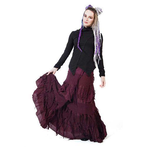 Lange omslag rok van katoen met gaas en kant paars - Hippie Fantasy - One size - Gekko