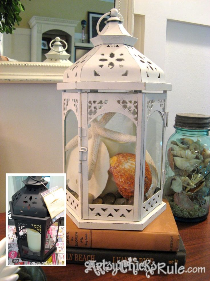 Lantern project filled with seashells, starfish and sand dollars for a beachy, summery look! (Blue ball mason jars too!)