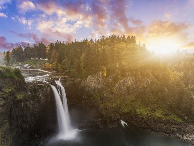 Credit: Getty Images - What to see: Director David Lynch returned with many of the original cast members to the small towns of Snoqualmie and North Bend to shoot the surprise third season of Twin Peaks against the foothills of the Cascade Range. Check out the filming locations before using the area as a launch pad for trips to Western Washington's top attractions, such as Mount Rainier National Park.
