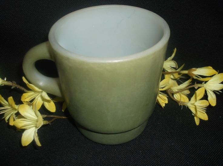 $6.96 or best offer Fire King Cup Anchor Hocking Vintage Mug Oven Proof Mug avocado green milk glass #AnchorHocking