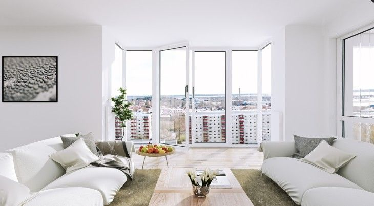 Scandinavian Apartment White Living Floor To Ceiling Windows - pictures, photos, images