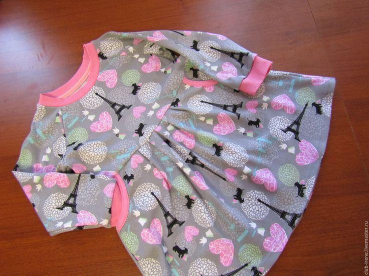 """Купить Платье детское """"Париж"""" - серый, для детского сада, для детей, для девочки, рисунок, трикотажное платье"""