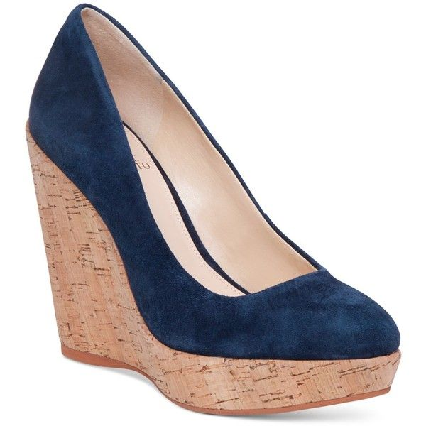 Vince Camuto Faran Platform Wedge Pumps ($110) ❤ liked on Polyvore featuring shoes, pumps, navy suede, wedge pumps, navy blue suede pumps, suede pumps, platform shoes and suede platform pumps