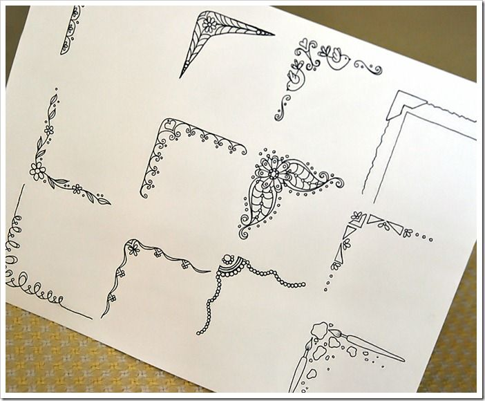 doodle corners- art journal frame ideas Plus I love the blog entry that belongs to this. I think we need to drive way up to the Apostle Islands for vacation this year :)