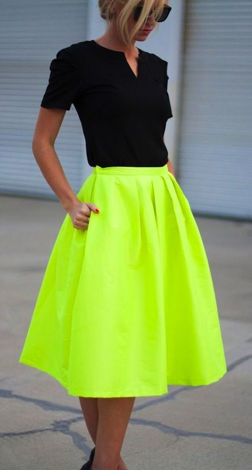 Love this but would prob never wear this skirt-would look like I had NO waist Neon or black. Great colors!