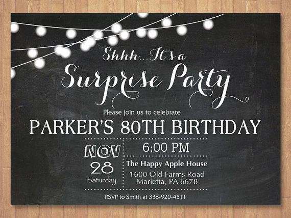 25 Best Ideas about 80th Birthday Invitations – Surprise Birthday Invitation