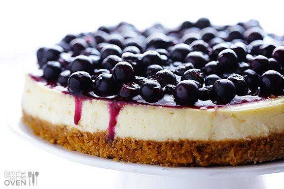 Lighter Blueberry Cheesecake Recipe | gimmesomeoven.com #dessert #cheesecake #recipe