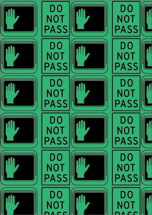 Interstate, Tobias Frere-jones, 1993. Pattern 3 (colore). 'Riconoscibile': Interstate PI. Ho scelto di utilizzare il colore verde per riprendere i colori della segnaletica stradale americana che utilizza questo Font.