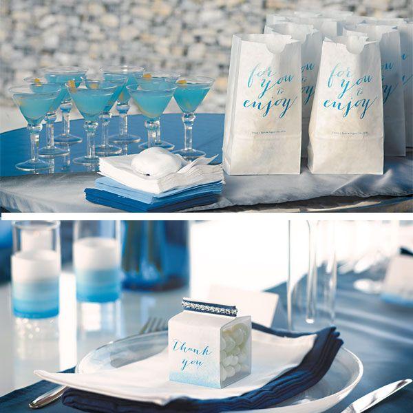 Blue Wedding Theme Ideas, Table Décor and Wedding Favors