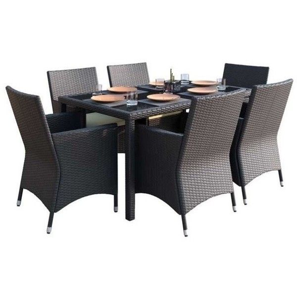 CorLiving Park Terrace 7 Piece Wicker Patio Dining Set ($1,181) ❤ liked on Polyvore featuring home, outdoors, patio furniture, outdoor patio sets, black, black outdoor patio furniture, black wicker outdoor furniture, outdoor wicker patio sets, woven outdoor furniture and outdoor wicker furniture