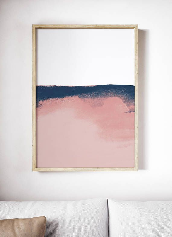 Blush Pink And Blue Print Minimal Pink Watercolor Art Abstract