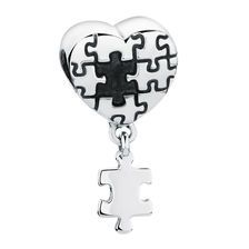 Heart & Puzzle Piece Dangle Charm in Sterling Silver