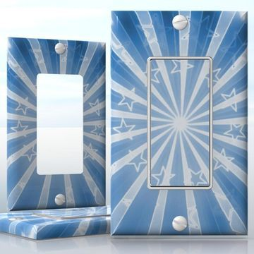 DIY Do It Yourself Home Decor - Easy to apply wall plate wraps | Las Vegas Stars  Retro white stars on blue background  wallplate skin sticker for 1 Gang Decora LightSwitch | On SALE now only $3.95