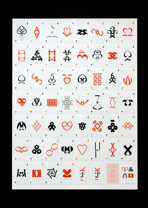 Jim Sutherland's typographic playing cards are designed with the basic guidelines of neither repeating nor altering any of the typefaces being used
