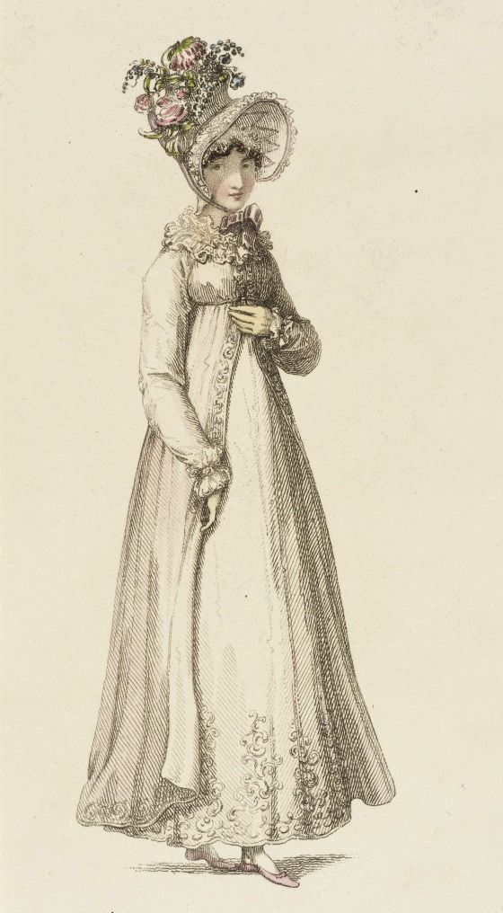 1818 August 1st. London.  Morning Dress with ruffled neckline, open down front over underskirt. High crowned hat with matching ruffles and pink and blue flowers and ribbon tie at chin.    Rudolph Ackermann Fashion Plate collections.lacma.org