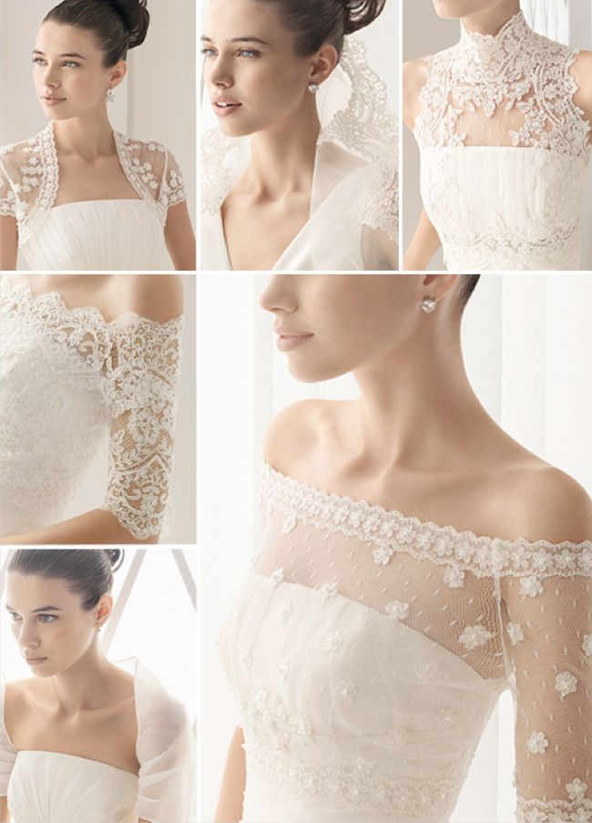 Bolero jackets for a strapless wedding dress. Perfect way yo swich up the dess from ceremony to reception :)