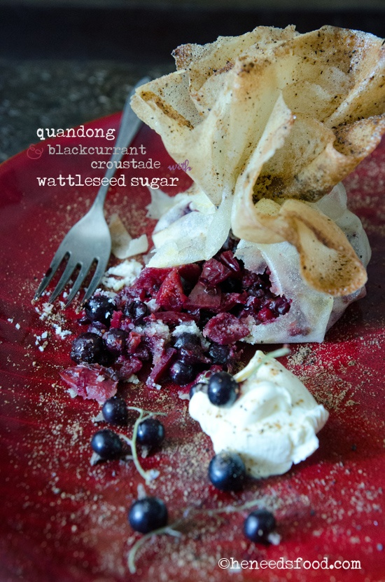 Quandong + blackcurrant croustade with wattleseed sugar