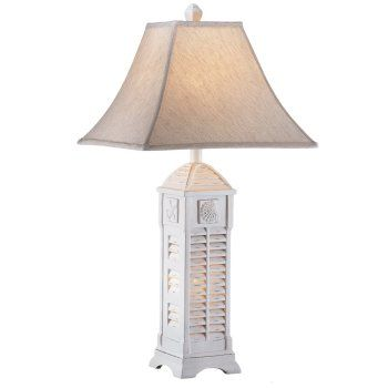 This Cottage Style Table Lamp Has A Cottage Shutter Pattern Which Surrounds  The Lampu0027s Base.  Inclosed Is A Night Light. Each Side Of This Rectangular  ...