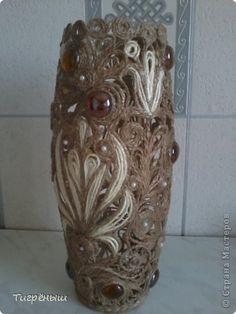 Поделка изделие Моя первая ваза из джута Бусины Клей Шпагат фото 1