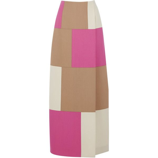 Geometric Patchwork Skirt | Moda Operandi ($2,310) ❤ liked on Polyvore featuring skirts, beige maxi skirt, high waisted long skirts, high rise maxi skirt, beige skirt and high-waisted skirt