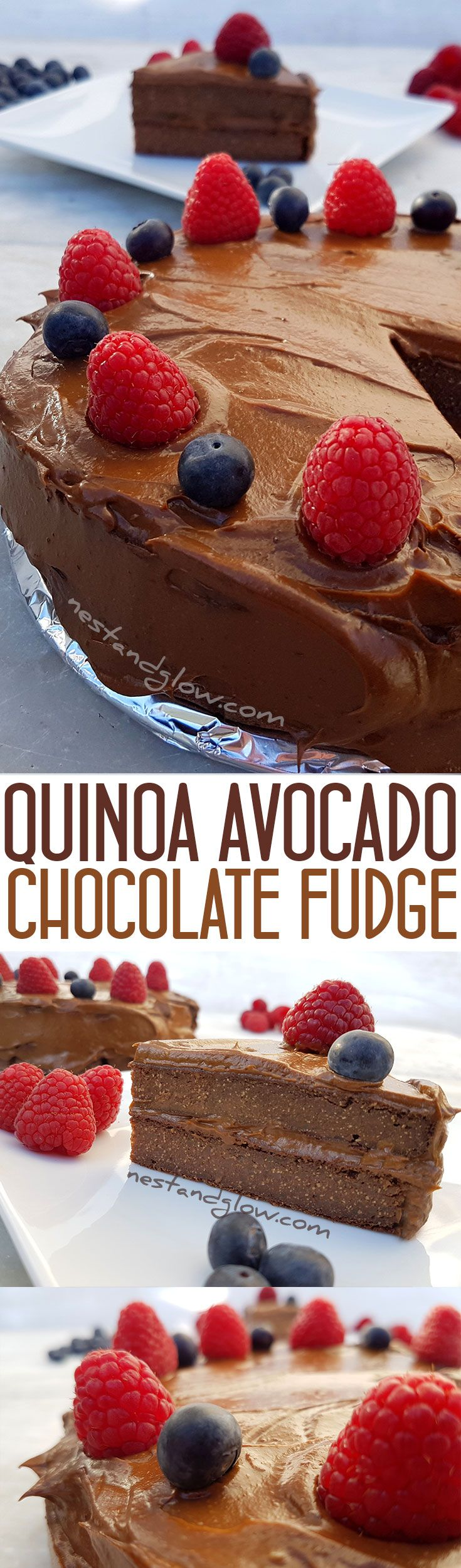 Quinoa Avocado Chocolate Fudge Cake Recipe - Vegan, gluten-free and healthy  via @nestandglow