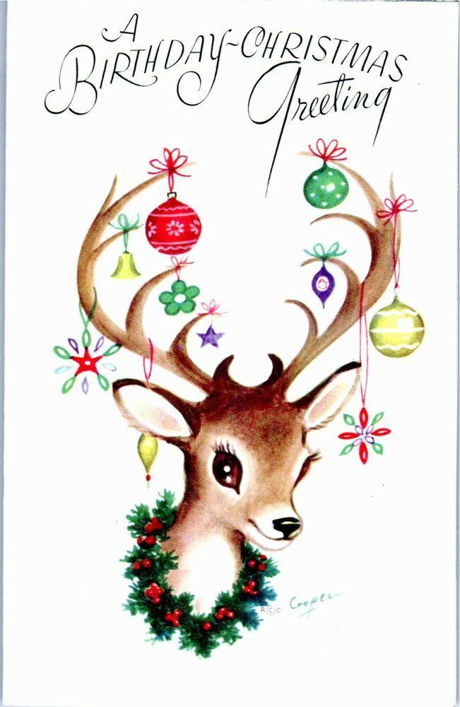Vintage Retro Inspired Deer Ornament Decorated Antlers NEW UNUSED XMAS Card