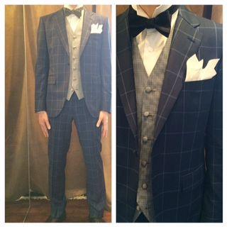 suit:ネイビーチェック vest:ブルー千鳥格子 bowtie:ネイビーコットンサテン  #新郎#カジュアルウエディング
