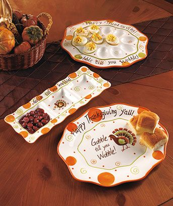 Gobble 'Til You Wobble Thanksgiving Serveware - this would be great for our Thanksgiving get together + we need a deviled egg platter